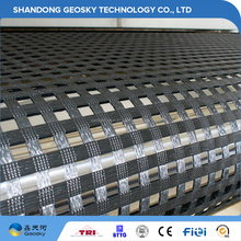 2017 hot sell retaining wall warp knitted polyester geogrid for hill slope reinforcement