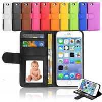 Hot selling magnetic flip folio universal smart phone wallet style leather cover case for iPhone 6s plus with card photo holder