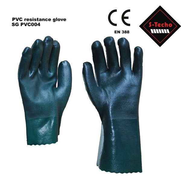 PVC coated safety work glove which is oil resistant