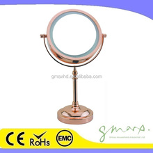 Rose gold Makeup Mirror with light 6 Inch Two Sided White Daylight LED Vanity Mirror