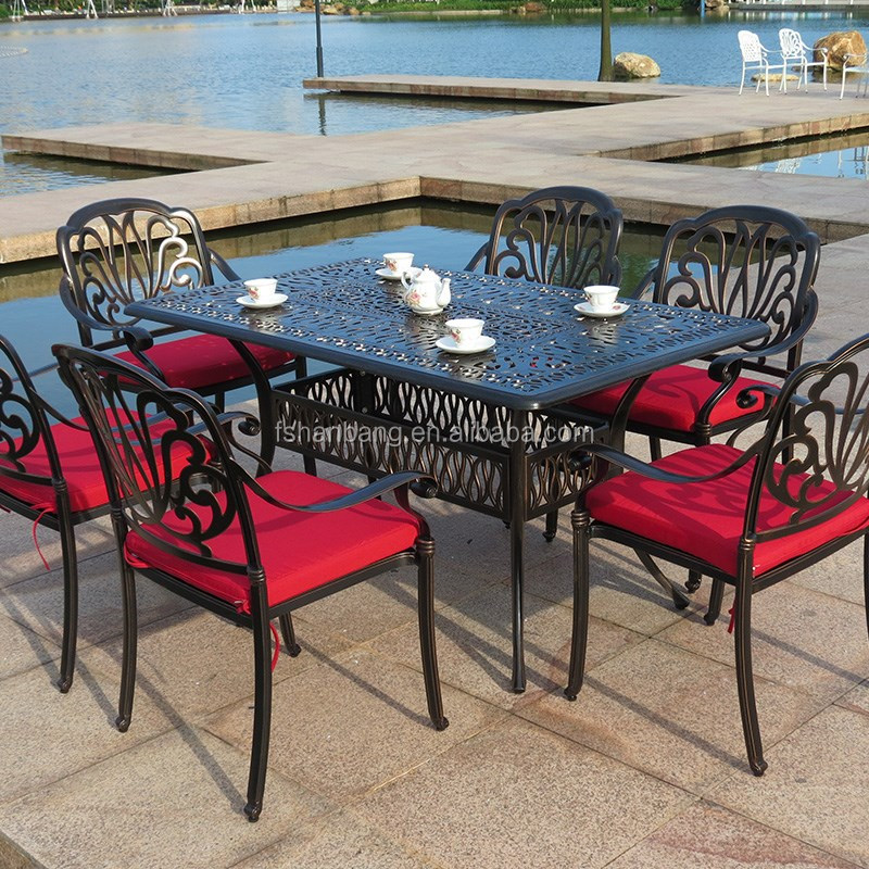 metal commercial garden patio outdoor furniture rectangular 6 seat