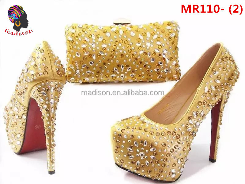 Gzmadison High quality wholesale fashion evening shoes with stones matching bags for lady wedding/MR110-2