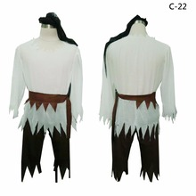 2017 New Adult Men's Long sleeve and 3/4 pants Zig zag cutting White and Brown Medieval design Pirate sailor Costume