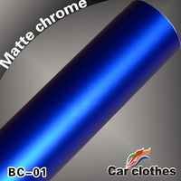 1.52x20m Wrapping Car Matte Chrome Vinyl Film Blue Full China