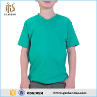 Shandao Fancy New Casual Summer Blank Short Sleeve V Neck Plain Green 180g 100%Cotton Kids Safety High Visibility T Shirt
