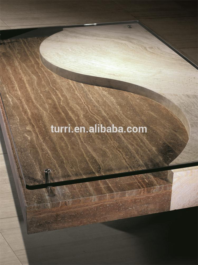 Modern Beige Travertine Marble Living Room Coffee Table With Glass Top View Travertine Coffee