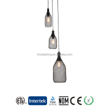 Loft American rustic style 3 lights adjustable hanging wrought black iron industrial vintage metal pendant lamp