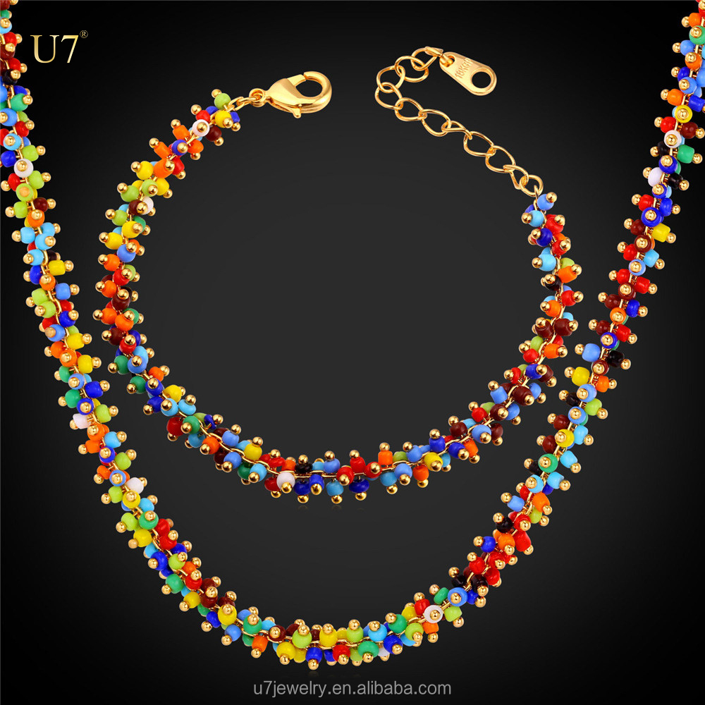 U7 unique design Trendy cute colorful women coral beads necklace jewelry set