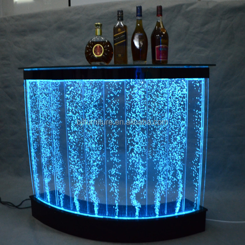 acrylic restaurant illuminated led light water bubble curved bar counter design