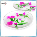 Hand Painted Round Food Rrade Clear Glass Plate With Flower Design