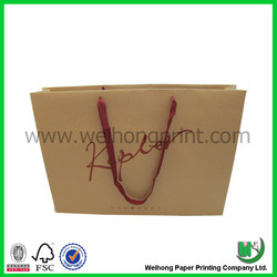 Simple logo printed paper shopping bag with ribbon wholesale