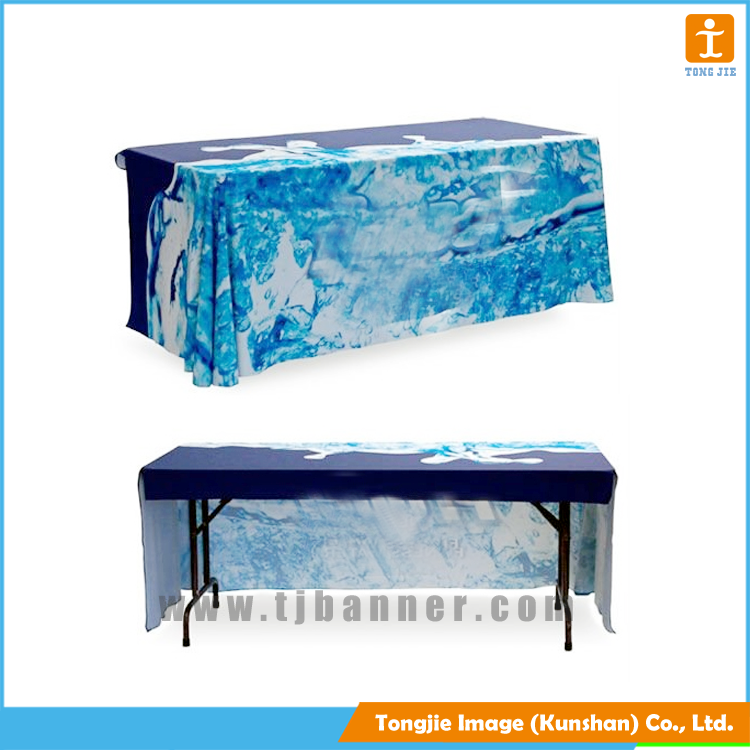 Custom sublimation printing fabric table cover for advertising