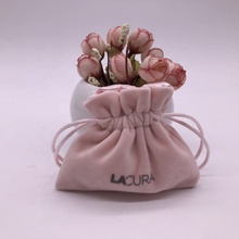 Satin Lined Custom Pink Velvet Drawstring Jewelry <strong>Bag</strong>