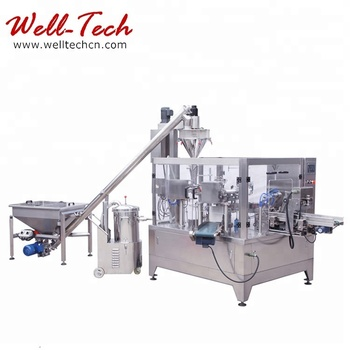 Automatic Stand Up Pouch Filling Machine For Food Additives Powder Rotary Packaging Line