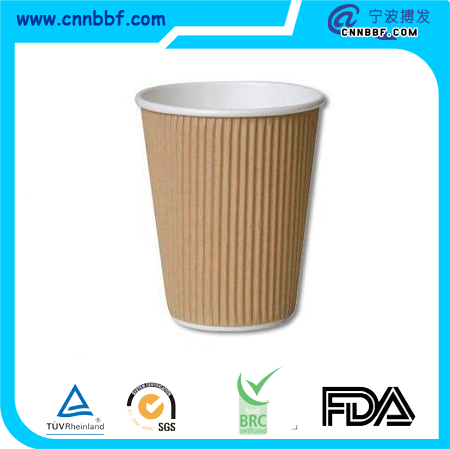 wholesale high quality Brown Kraft Ripple Wall Paper Cups for Hot Coffee