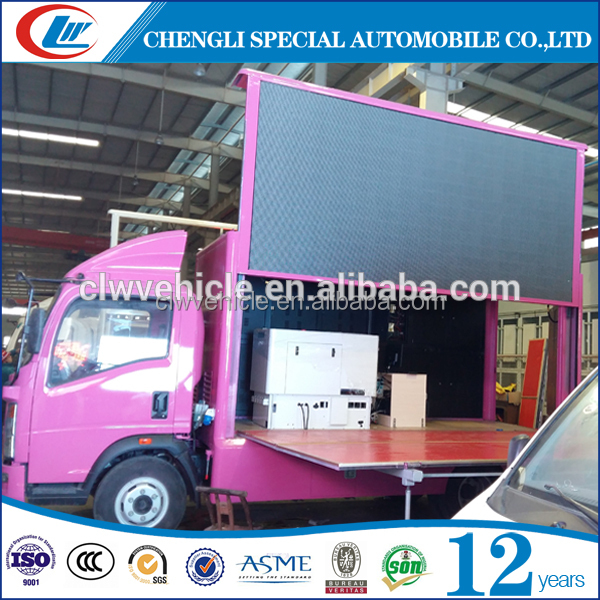 Low price Foton 4x2 mini trucks of LED screen truck
