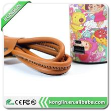 Luxury Flashing leather cable micro usb leather cable,data cable for HTC Android
