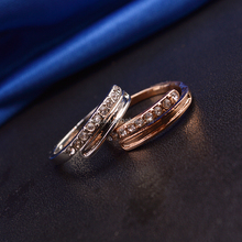 NEW Design Wedding Rings 18K Gold Covering Plate Austrian Crystal SWA Elements Ring Honey Fashion Jewellery B019