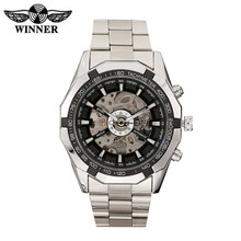 Winner Watch Men Skeleton Automatic Mechanical Wrist Watch Stainless Steel Vintage Men Watch Top Brand Luxury Relogio Masculino