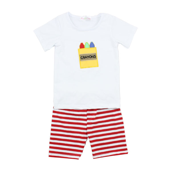 2017 simple summer casual outfit white t-shirt and stripe shorts sets sports outfit for boys and girls