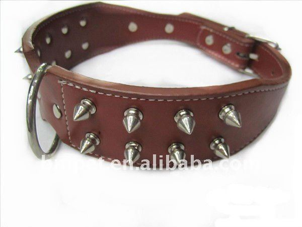 "Leather Dog Collar Spikes Studs 17""-20"" PitBull fighting dogs"