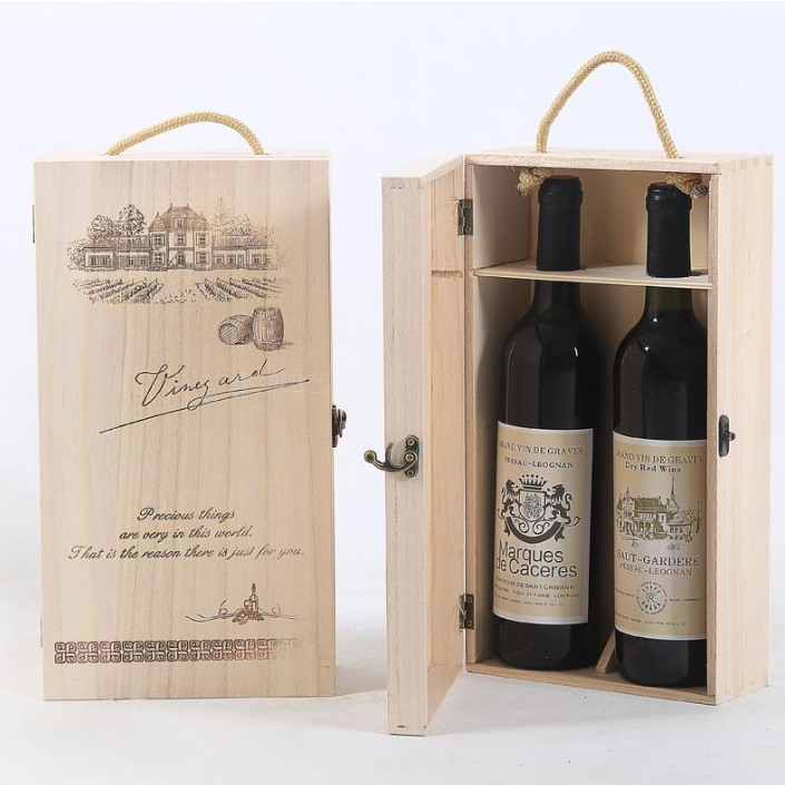 2 bottles pack <strong>wooden</strong> wine storage box