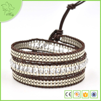 Newest Popular Clear Agate 3 Wraps Female Braided Leather Bracelet Made in China