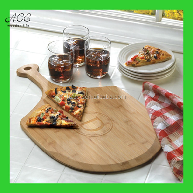 Custom bamboo pizza peel Bevelled bamboo serving board High quality bamboo pizza board