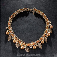 heavy latest design leather pearl necklace