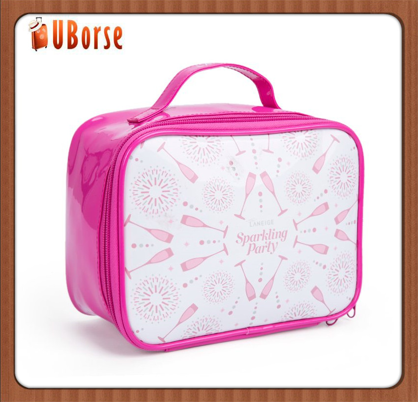 Popular christmas handle Colored photoresist PVC cosmetic bag as promotion gift