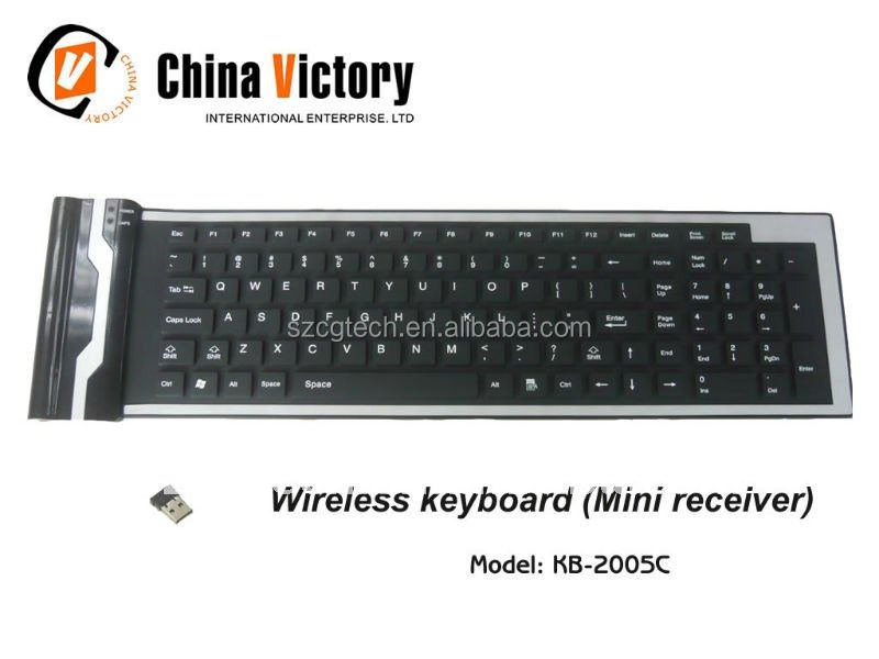 104 keys ultra silent keyboard/silicon rubber wireless keyboard/wireless silicone keyboard