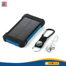 Portable Waterproof 10000mah solar power bank mobile solar charger with led light