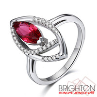 2017 fashion Inlaid AAA zircon with red glass stone 925 sterling silver ring 4-2-qsswd00063