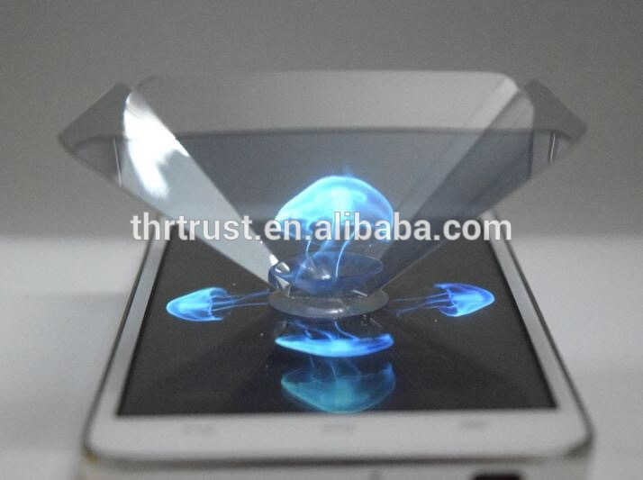 2017 hot Promotional gift Smartphone 3D holographic projector, OEM Laser logo Mini 3d Hologram Pyram for smartphone