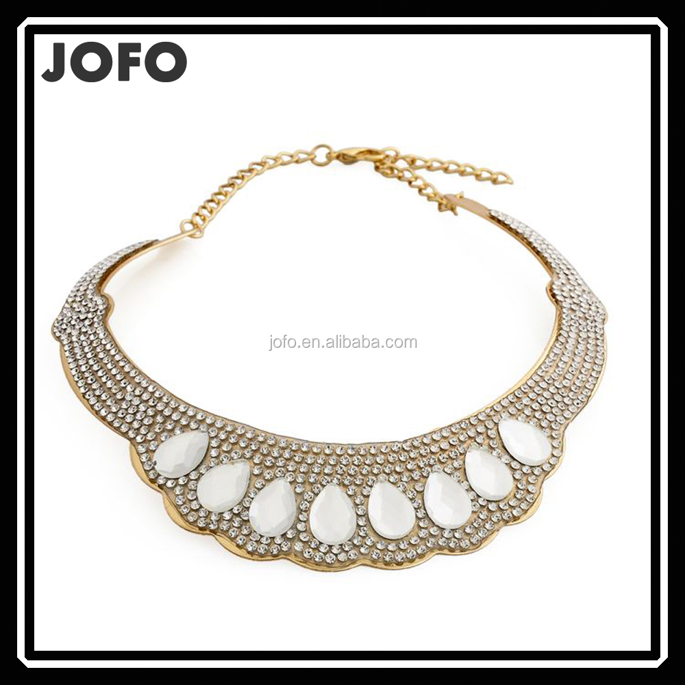 2017 Jofo New Design Water Drop <strong>Crystal</strong> and Metal Main Matetial Choker Necklace