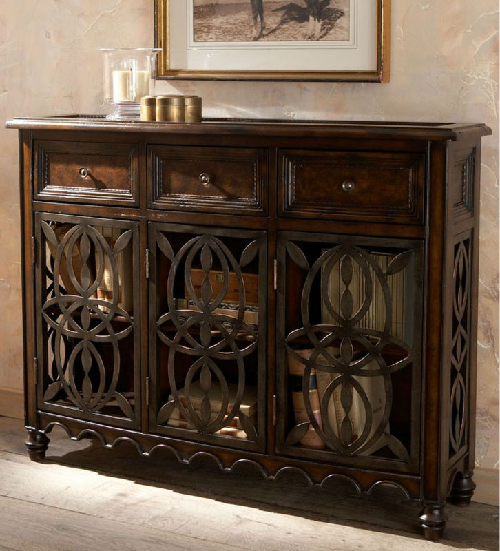 Spanish Antique Style Wooden Living Room Side Cabinet With Iron Openwork Doors