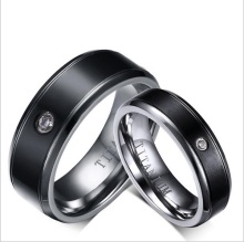IP black plating Highly Polished Titanium Steel Diamond Couple Rings