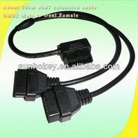 High quality 16 pin OBD2 OBDII Splitter Extension Cable 90 Degree elm327 Diagnostic Cable 50cm Male to Dual Female