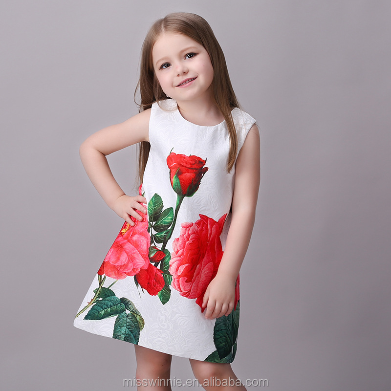 latest frock designs red rose kids beautiful model dresses A-line style baby girls dresses