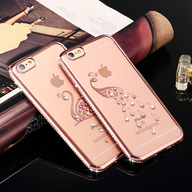 Mobile Phone Transparent Soft TPU Crystal Diamond Case Cover for iPhone 6 6plus