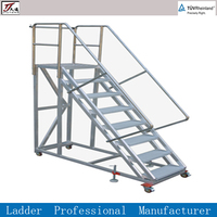 Collapsible Warehouse Mobile Ladder with Handrail