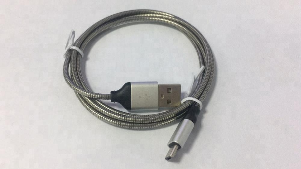 High quality Spring Stainless Steel Pure Metal Usb Data Charging Cable For android samsung