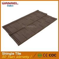 Building materials decorative red stone coated metal flat low cost italian lightweight roof tile, double roman roof stone coated