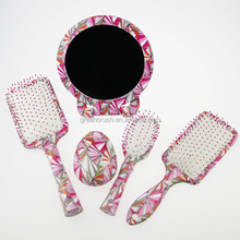 Pink cushion hair brush & make up mirror & tangle brush set