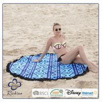 Wholesale High End Round Beach Towels 100% Cotton