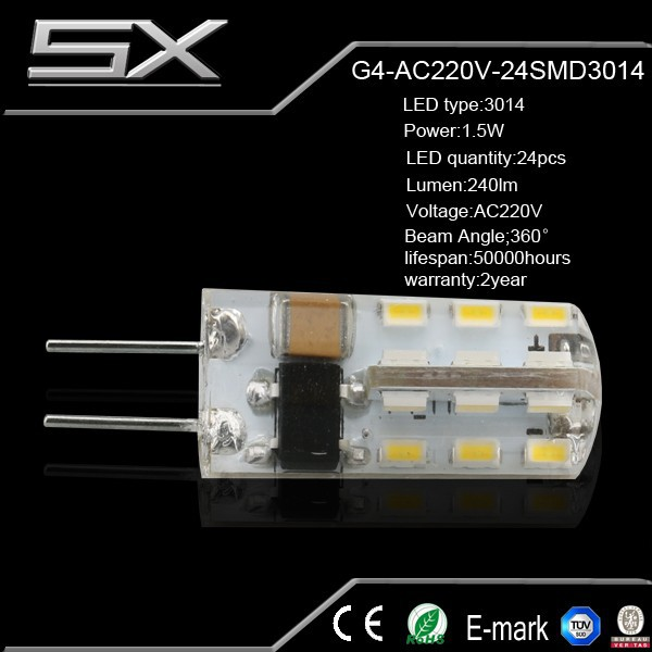 New product g4 led light 24LED SMD 3014 <strong>AC</strong> 220V g4 lamp g4 led lamps ce rohs