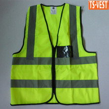 2015 cheap traffic reflective EN20471 safety vest with ID pocket