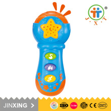 educational plastic cute mini microphone baby music toy with projector and light