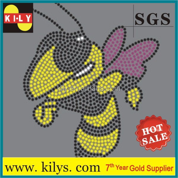 diamond Bee Hot Fix Rhinestone Iron on Transfer design for decor