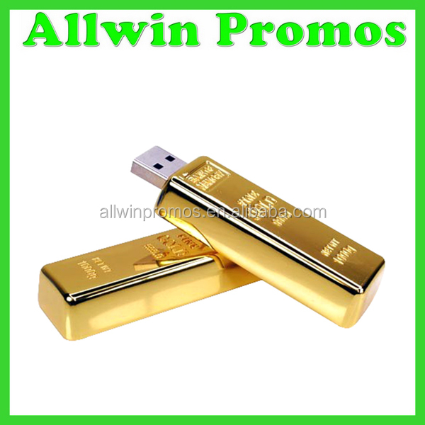 Custom Logo Gold Bar USB Flash Drive